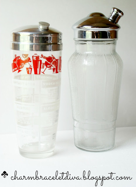 Vintage glass cocktail shaker