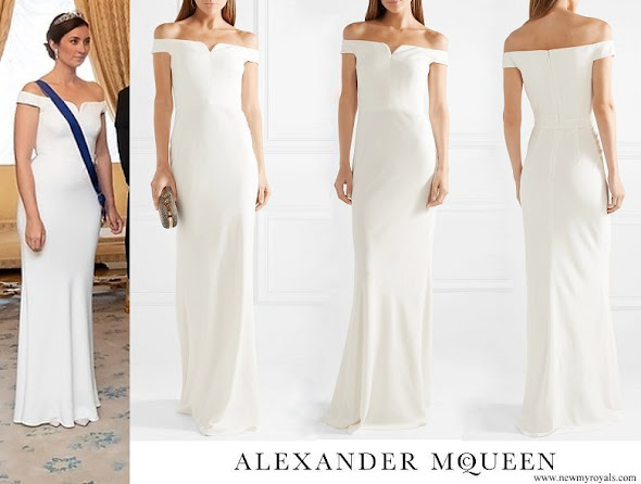 Princess Claire wore Alexander McQueen Leaf off-the-shoulder crepe gown