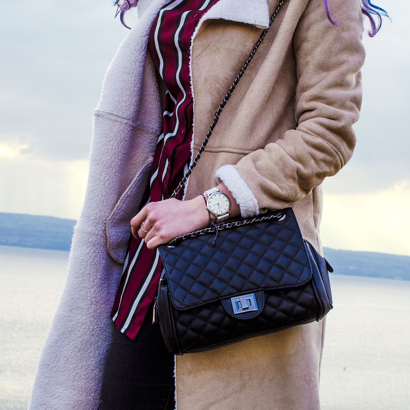 marc b pewter quilted chanel lookalike bag
