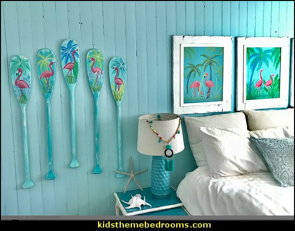 Flamingo Paddle Oar Art Signs  Coastal Tropical Beach House Lake Cottage Decor  Flamingo Paintings ONE Tropical Florida Beach House Art Wall Decor Painting