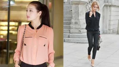 Model Baju Sifon Lengan Panjang