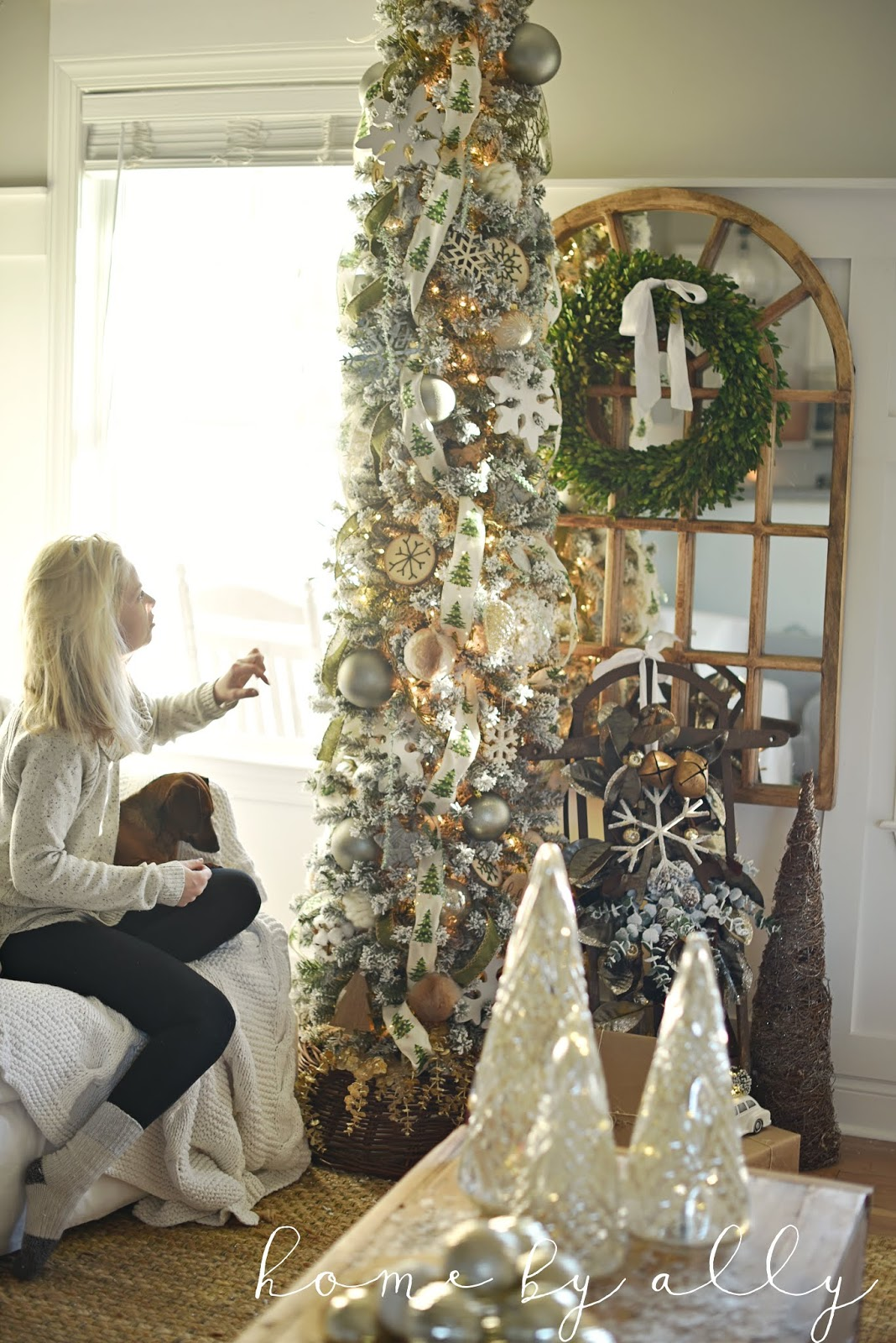 Home By Ally King Of Christmas Collaboration Flocked Pencil Tree