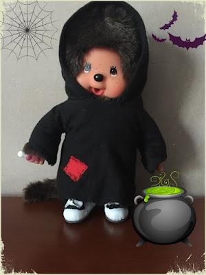 Tenue de sorcière pour Kiki ou Monchhichi - couture - vêtement - poupée - fait main - handmade
