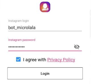 Memasukan username dan password dalam aplikasi