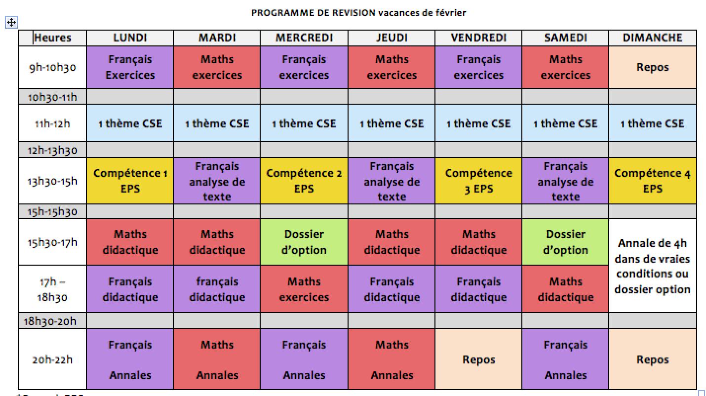 exemple planning de revision