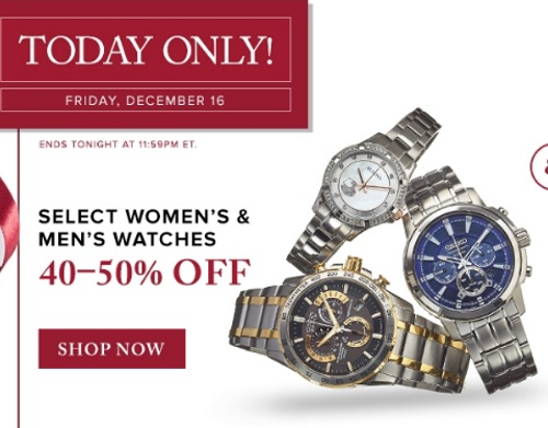 Hudson's Bay 40-50% Off Women's & Men's Watches + Free Shipping