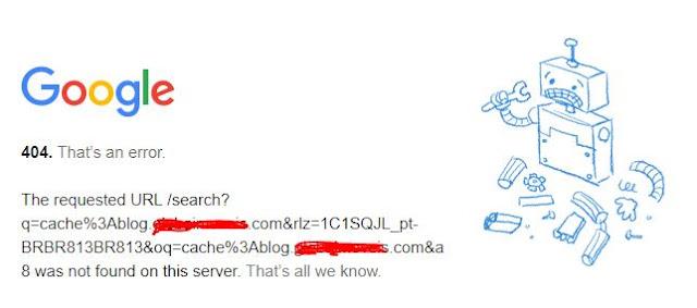 Exemplo de erro 404 cache Google