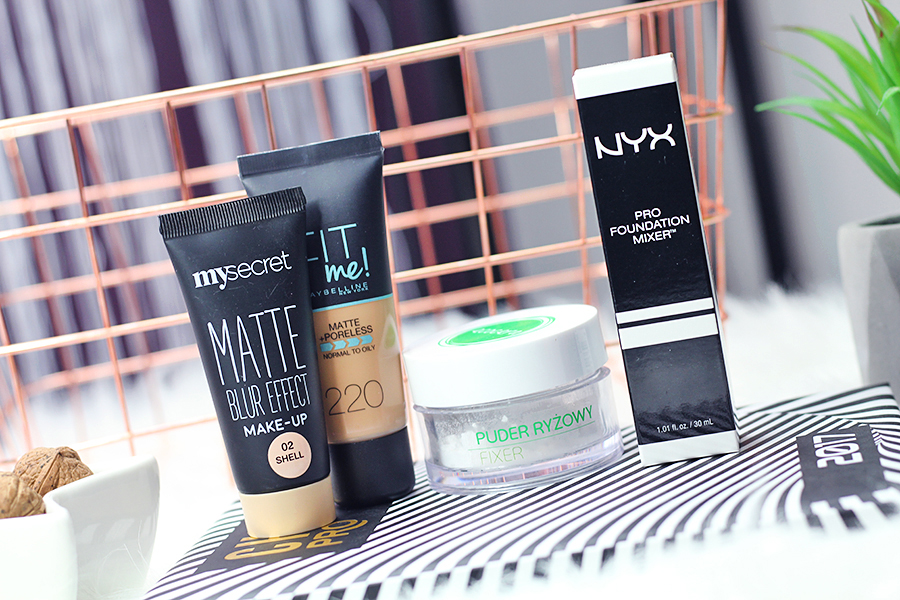 My Secret  Matte Blur Effect #02, Maybelline FIT Me #220, puder ryżowy marki Ecocera  & Pro Foundation Mixer Nyx