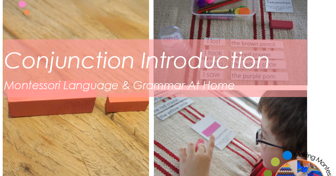 Conjunction Introduction on Making Montessori Ours Education Printables Bead