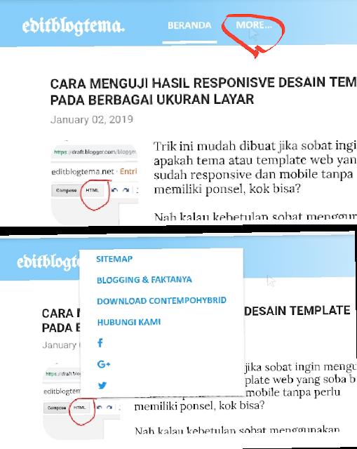 menubar dibuat menggunakan pagelist atau page blogger