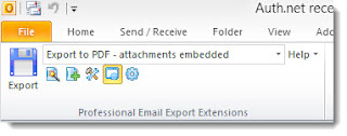 MessageExport toolbar shown in Outlook 2010