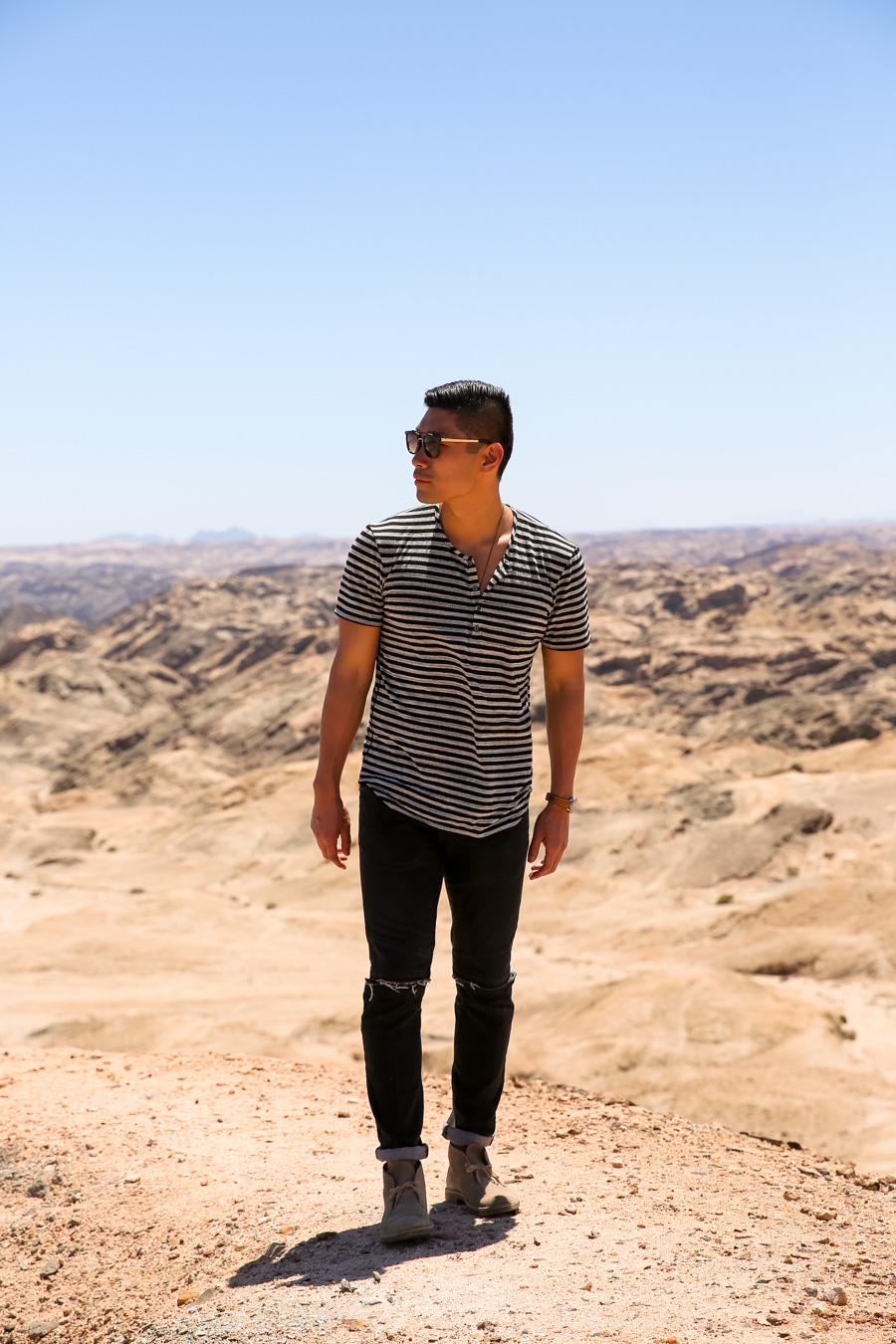 Levitate Style, Clarks Desert Boots, Clarks, Namibia, Travel, Leo Chan, menswear, Namib Desert, moonscape
