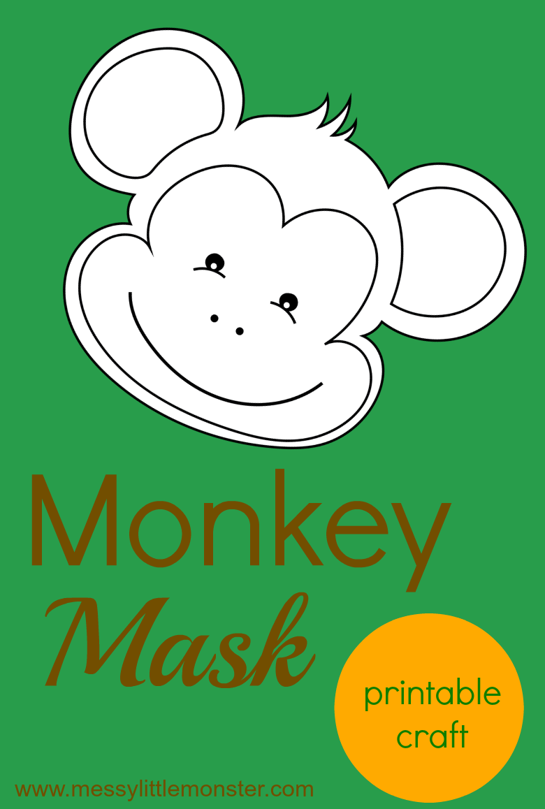Make a monkey mask craft for kids using our free printable monkey template.