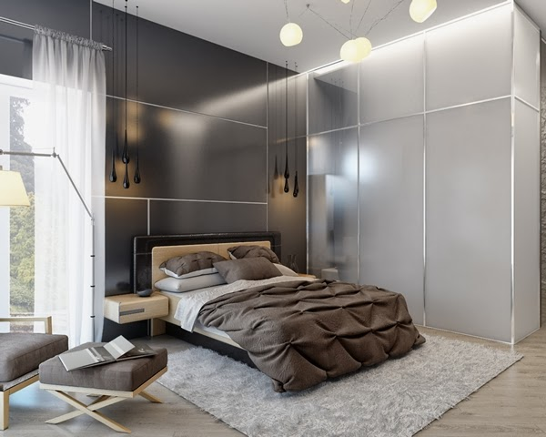 Bedroom Glamor Ideas: Earth tone Modern Bedroom Glamor Ideas.