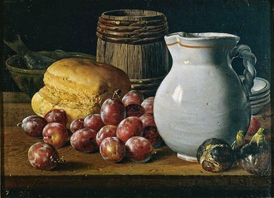 Luis Meléndez, Nature morte aux prunes, figues, pain et récipients