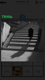 по лестнице поднимается человек и от него падает тень на землю