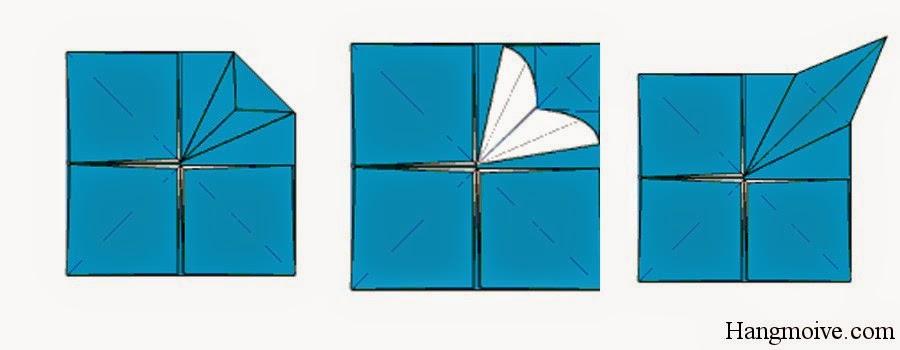 Bước 12: Từ đỉnh mép trong cùng hình vuông (tâm hìn vuông) ta kéo mép giấy ra phía ngoài để tạo thành chân bàn.