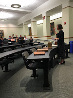 Professor Bilder lecturing on various types of books