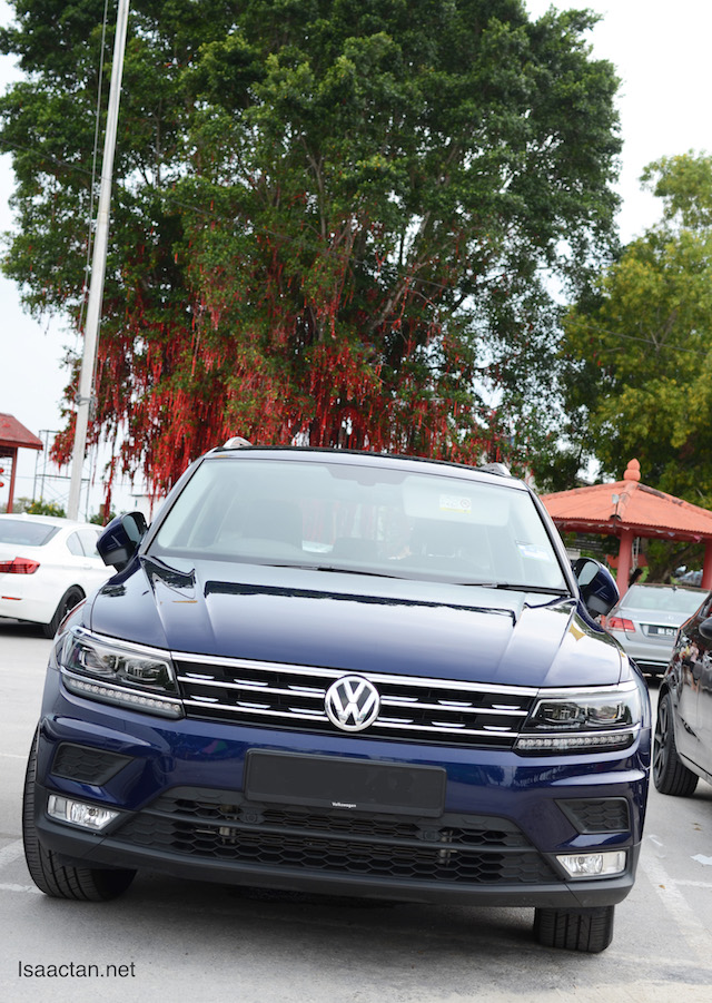 The all new Volkswagen Tiguan against the backdrop of Sekinchan's wishing tree