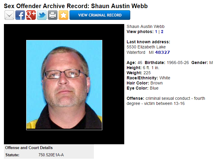 Level 2 Michigan sex offender Shaun Webb supports yet another