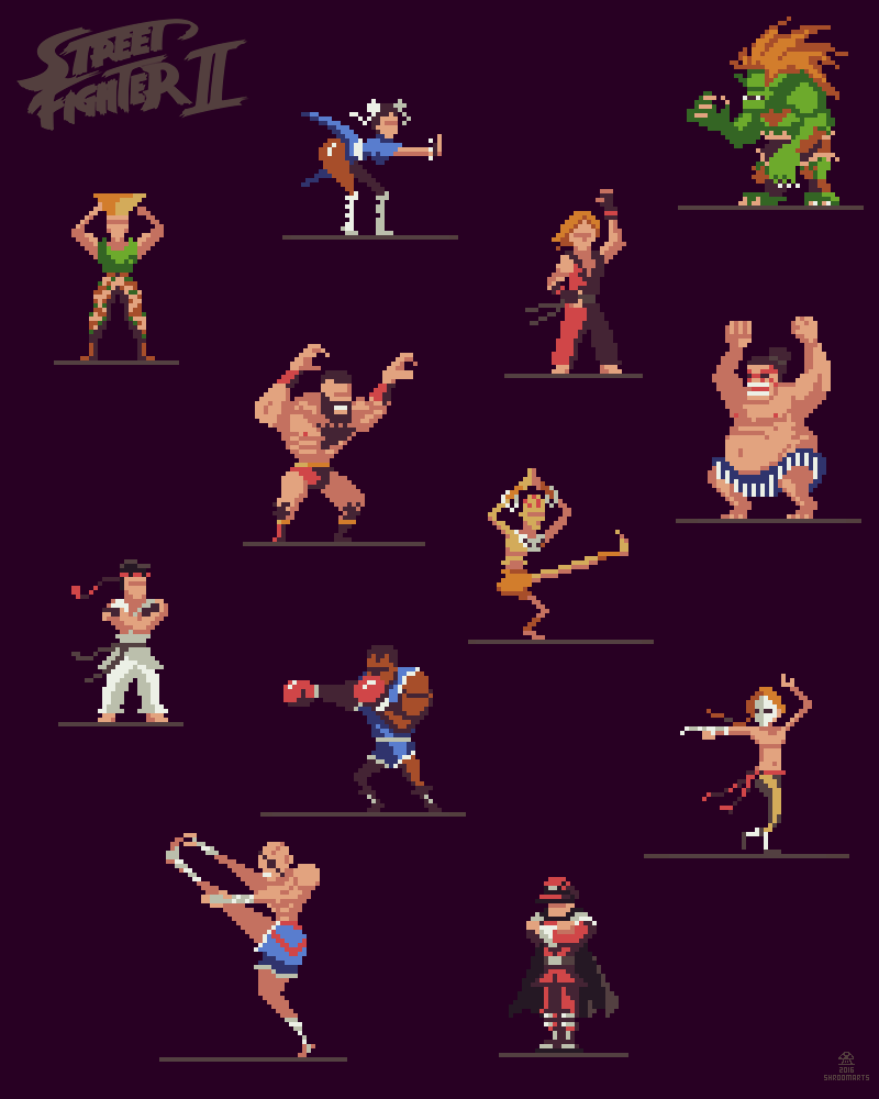 Shroomarts Street Fighter 2 Pixelart Characters