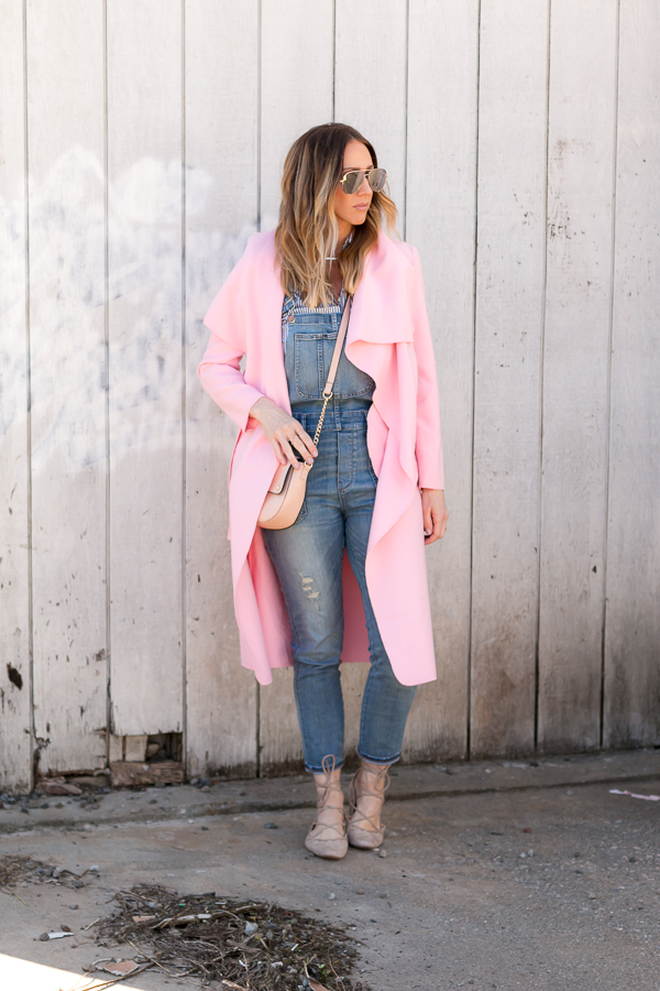 overalls, pink jacket, striped top parlor girl