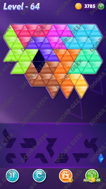 Block! Triangle Puzzle Master Level 64 Solution, Cheats, Walkthrough for Android, iPhone, iPad and iPod
