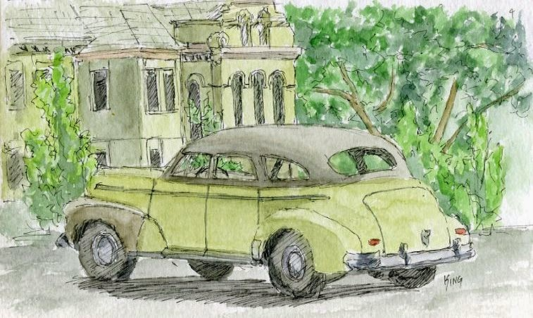 art sketch pen watercolor car Chevy sedan coalville Utah