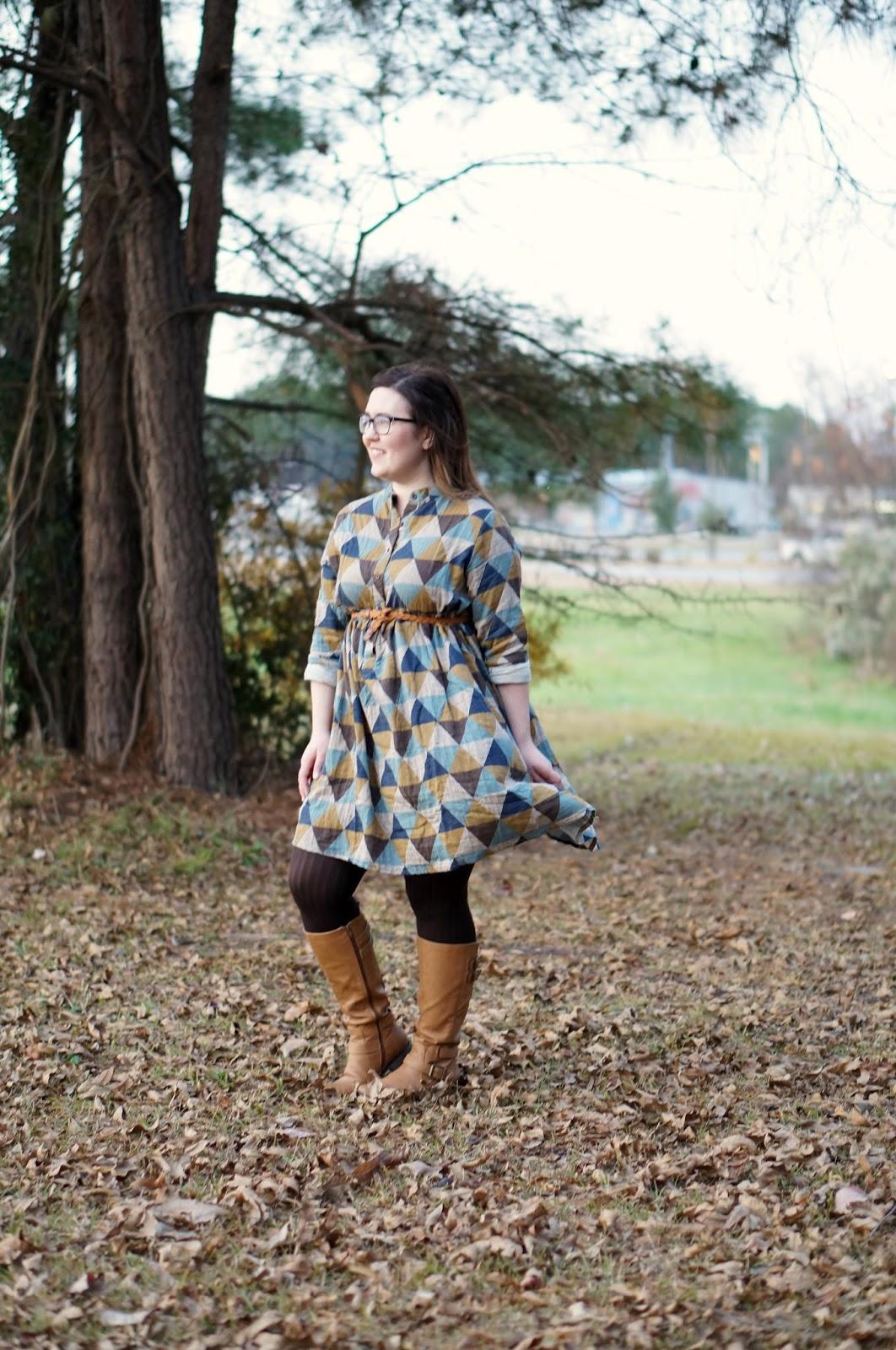 Rebecca Lately Zaful Geometric Dress Fall Outfit