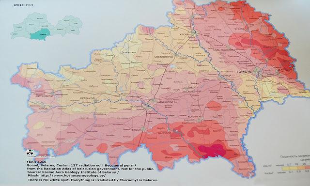 Zemljevid radioaktivnega področja v Belorusiji