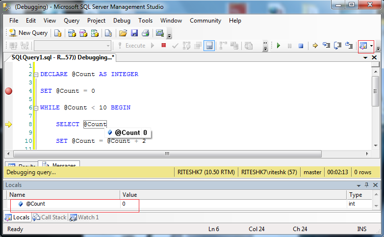 Exact Help: How to debug sql queries in SSMS (Sql server man