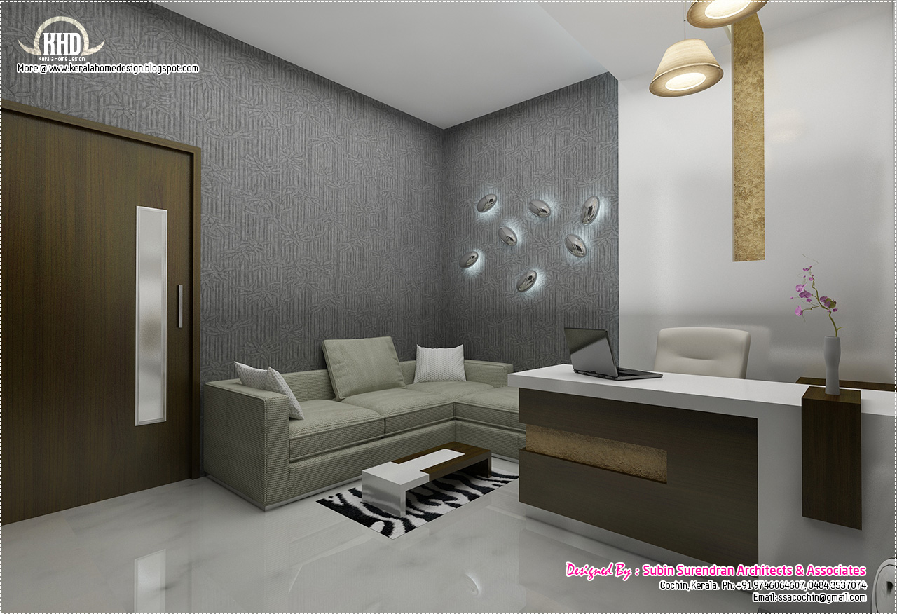 Black and white themed interior designs - Kerala home ...