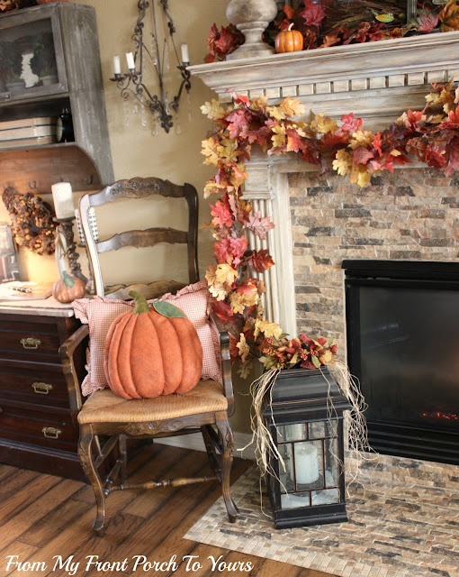 Fall- Decorations-Vignette-French -Country -Fall -Mantel- From My Front Porch To Yours