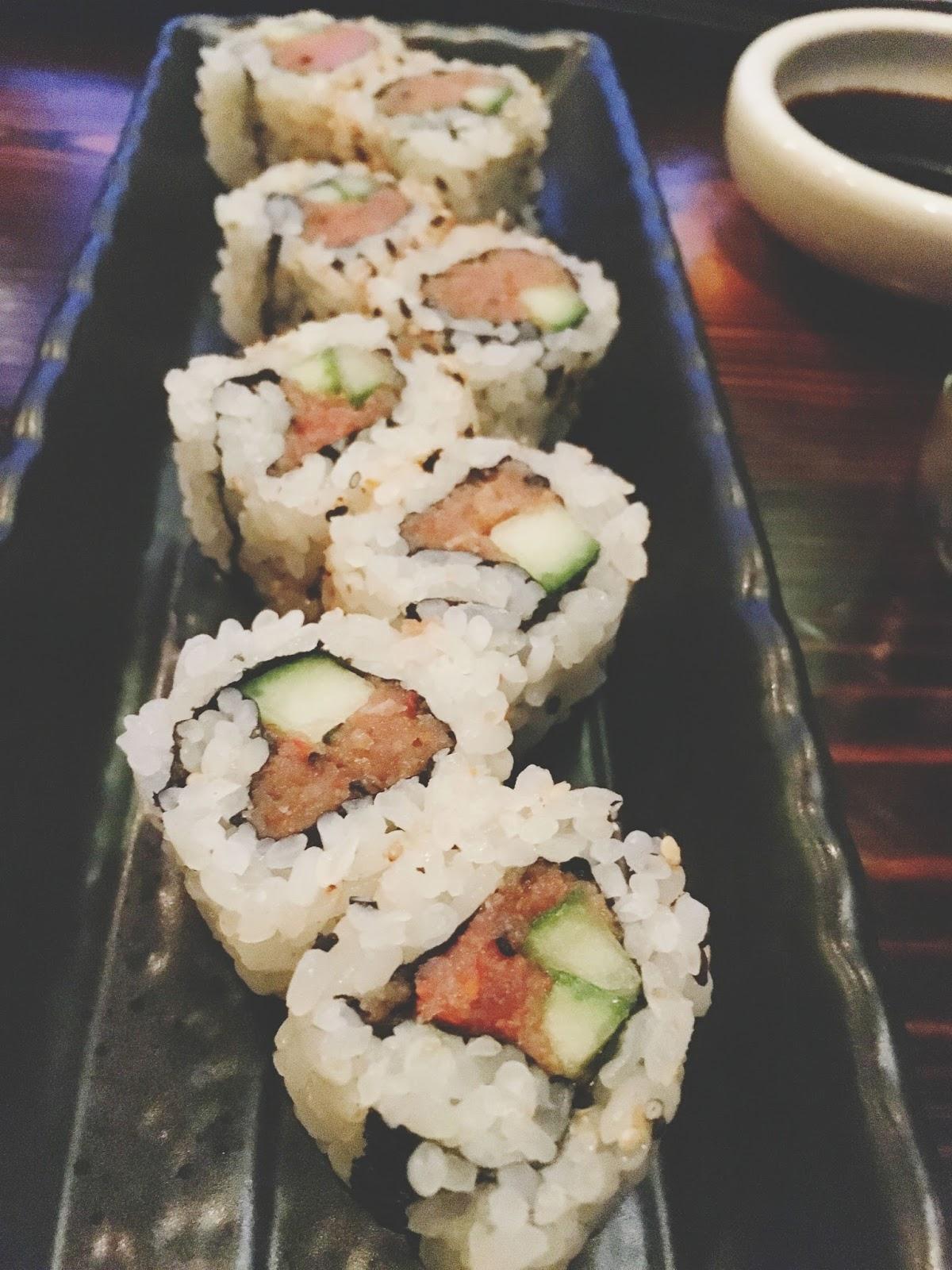 a Happy Hour roll at ka sushi, a restaurant in Houston, Texas