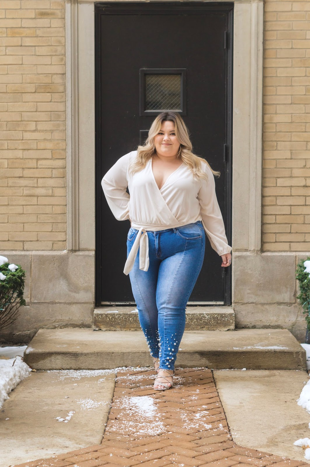 natalie in the city, natalie craig, Chicago fashion blogger, plus size fashion blogger, plus size Chicago model, fashion nova curve, fashion nova, blogger review, plus size pearl denim, affordable plus size clothing, plus size wrap top, trendy plus size clothing, embrace your curves, plus model magazine