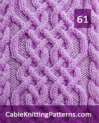 Cable Panel 61  -Free Pattern. Skill level: Advanced knitter and up. Knit with 62 stitches and 64-row repeat.