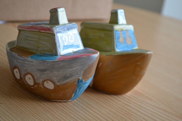 Boat Ceramic Coin Banks from Yellow Moon @ Ups and downs, smiles and frowns