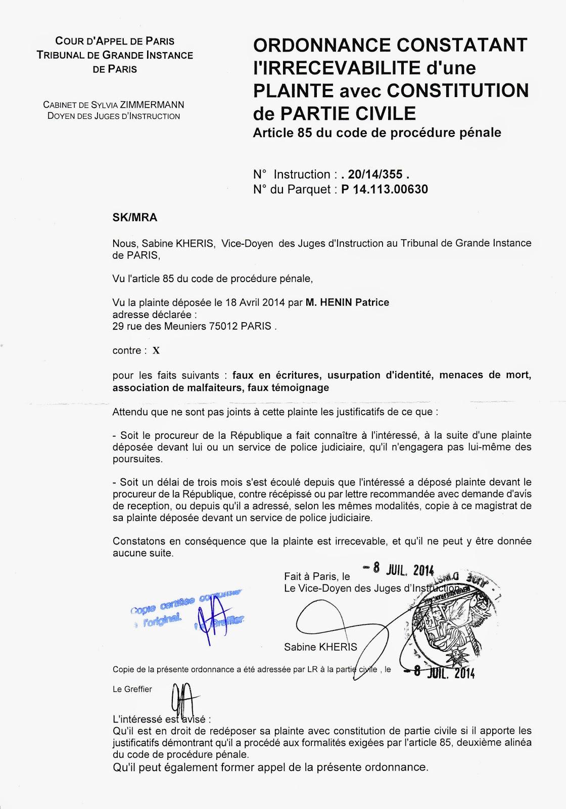P h nix blogue qui rena t toujours de ses censures 2014 - Porter plainte aupres du procureur de la republique ...