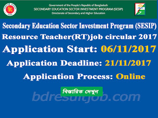 SESIP Resource Teacher (RT) job circular 2017