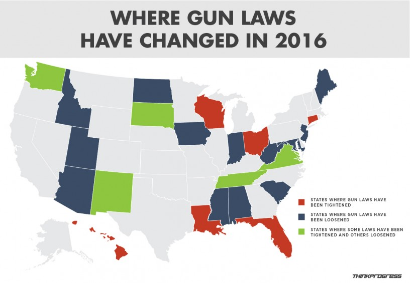Where gun laws have changed in 2016