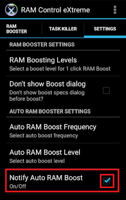 click on notify auto ram boost