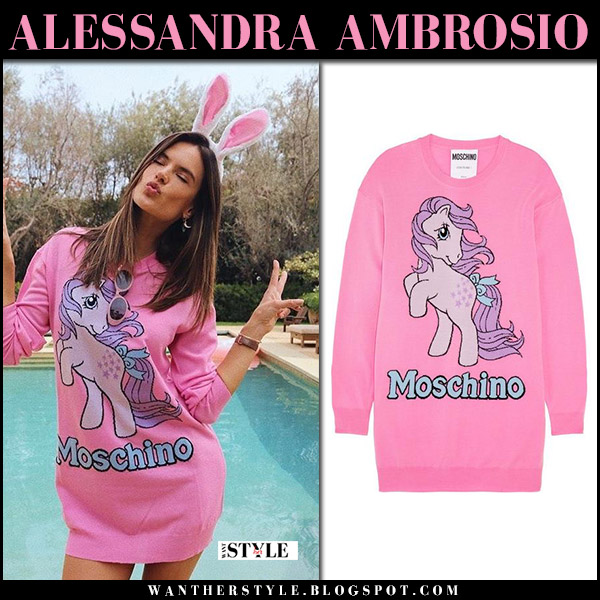 Alessandra Ambrosio in pink Moschino sweater dress model style april 1
