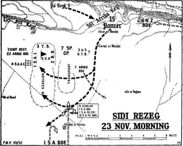 Map of Sidi Rezegh battle in North Africa, 23 November 1941 worldwartwo.filminspector.com