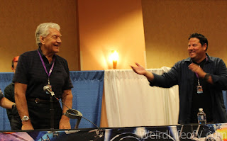 David Prowse and Greg Grunberg at the Star Wars panel at SuperToyCon 2016