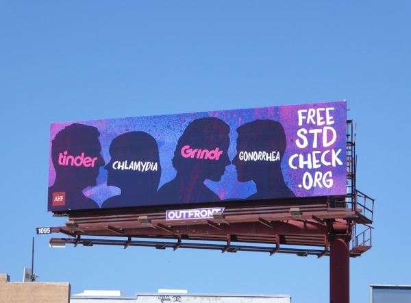 Tinder and Grindr Free STD check billboard