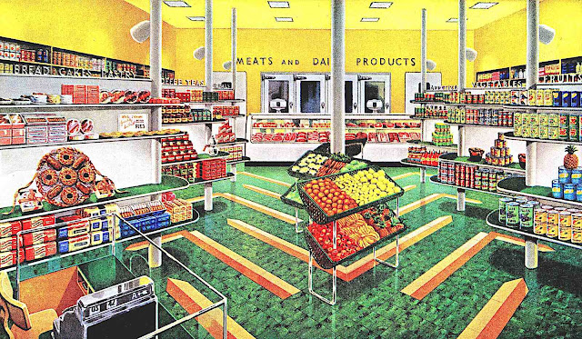a color illustration of a 1940s supermarket interior