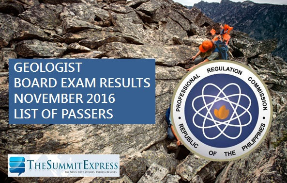 Geologist board exam results November 2016