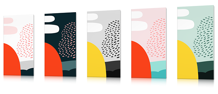 tableau abstrait design contemporain coloré