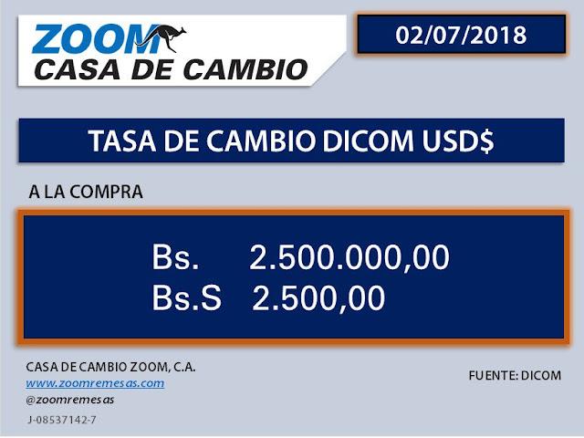 Zoom fijó operaciones con remesas a Bs. 2.500.000 por dólar este lunes