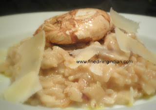 MUSHROOM RISOTTO WITH POACHED DUCK EGG IMAGE FINEDININGINDIAN.COM